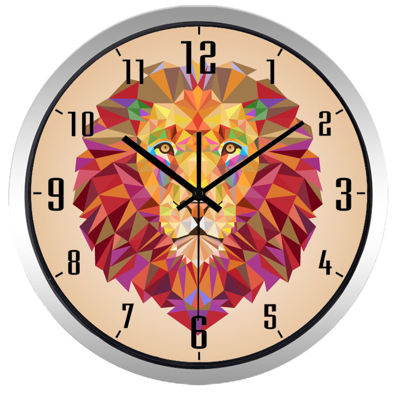 Symphony Lion High Definition Print Silver Frame Quartz Wall Clock