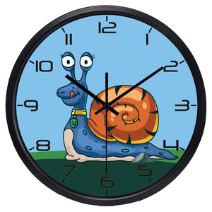 Kids Cartoon Snail High Definition Print Black Frame Quartz Wall Clock