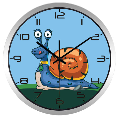 Kids Cartoon Snail High Definition Print Silver Frame Quartz Wall Clock