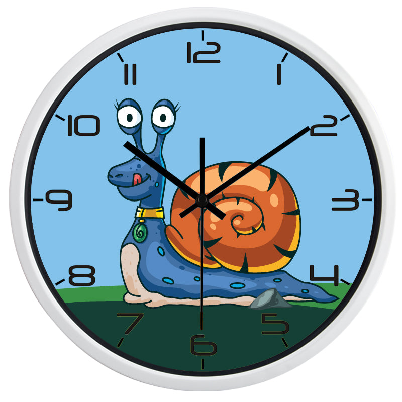 Kids Cartoon Snail High Definition Print White Frame Quartz Wall Clock