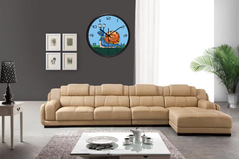 Image of Kids Cartoon Snail High Definition Print Black Frame Quartz Wall Clock