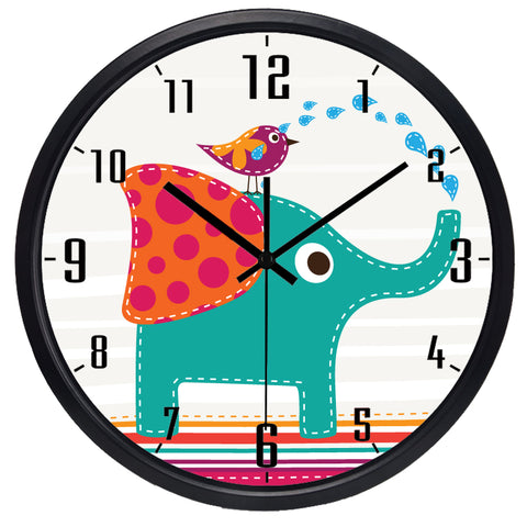 Kids Cartoon Elephant High Definition Print Black Frame Quartz Wall Clock