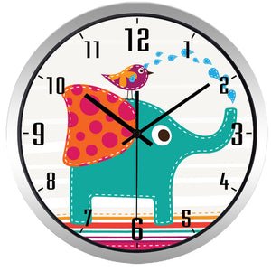 Kids Cartoon Elephant High Definition Print Silver Frame Quartz Wall Clock