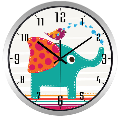 Image of Kids Cartoon Elephant High Definition Print Silver Frame Quartz Wall Clock