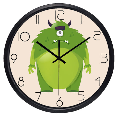 Kids Cartoon Monsters High Definition Print Black Frame Quartz Wall Clock