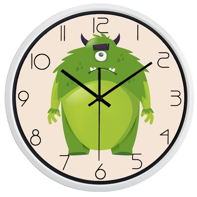 Kids Cartoon Monsters High Definition Print White Frame Quartz Wall Clock