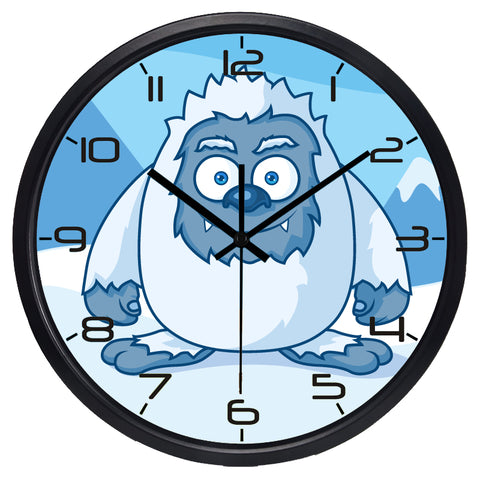 Kids Cartoon Snow Monsters High Definition Print Black Frame Quartz Wall Clock