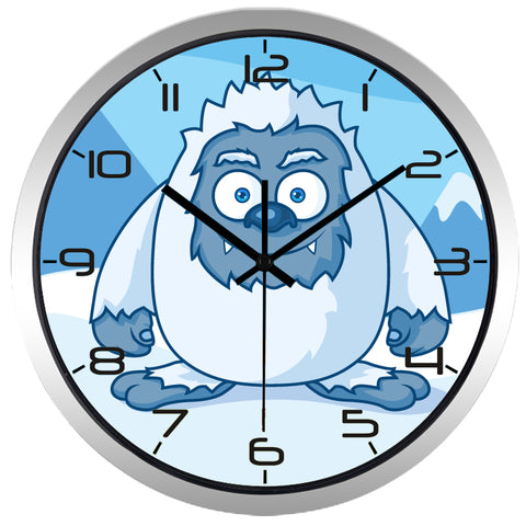 Kids Cartoon Snow Monsters High Definition Print Silver Frame Quartz Wall Clock