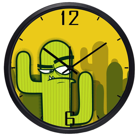 Image of Kids Cartoon Interesting Cactus High Definition Print Black Frame Quartz Wall Clock