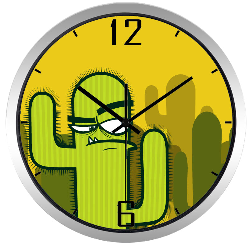 Kids Cartoon Interesting Cactus High Definition Print Silver Frame Quartz Wall Clock