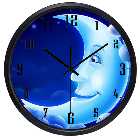 Kids Cartoon Half Moon High Definition Print Black Frame Quartz Wall Clock