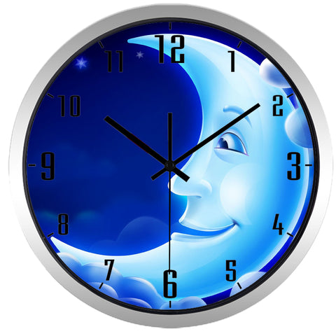 Image of Kids Cartoon Half Moon High Definition Print Silver Frame Quartz Wall Clock
