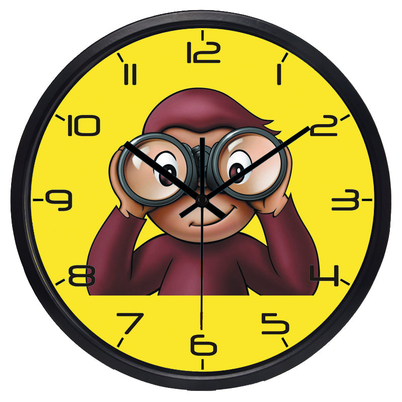 Cartoon Money Kids High Definition Print Black Frame Quartz Wall Clock
