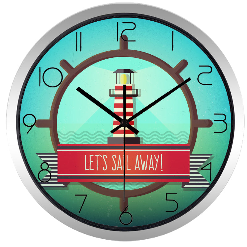 Lets Sail Away High Definition Print Silver Frame Quartz Wall Clock