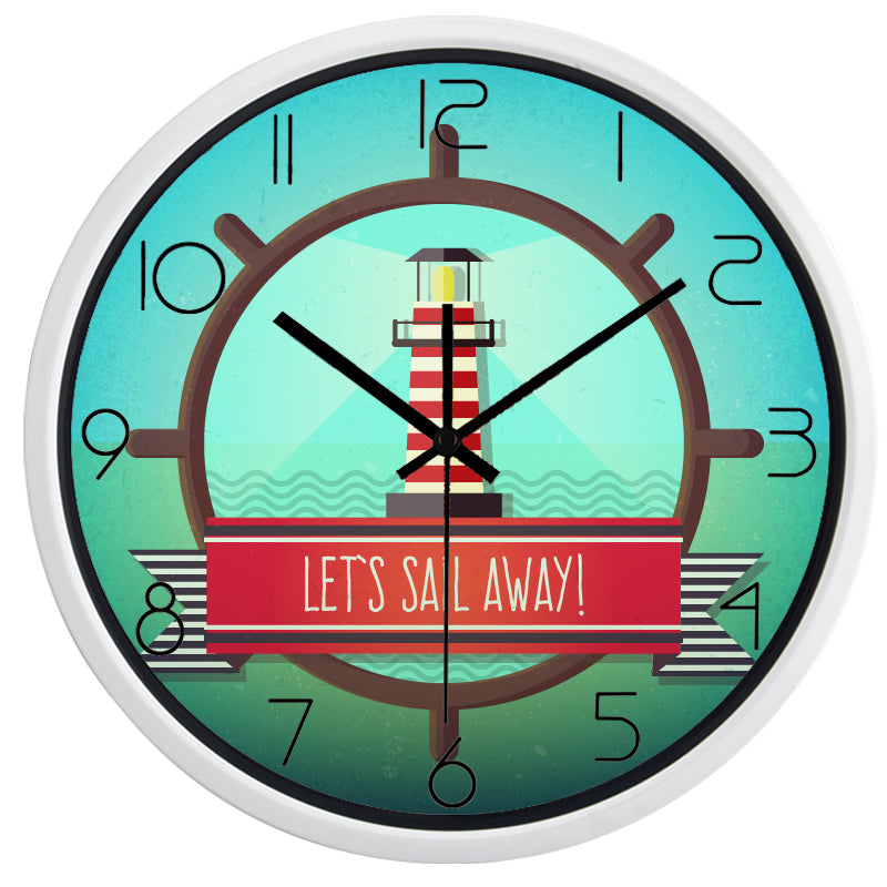 Lets Sail Away High Definition Print White Frame Quartz Wall Clock