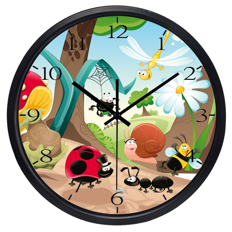 Kids Cartoon Bugs Beetle Ant High Definition Print Black Frame Quartz Wall Clock