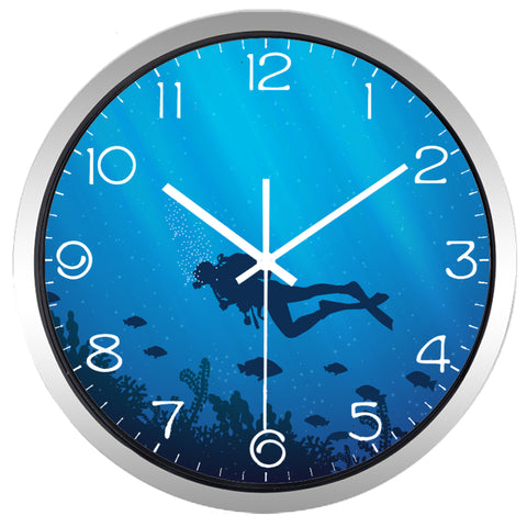 Image of Deed Ocean Diver High Definition Print Silver Frame Quartz Wall Clock
