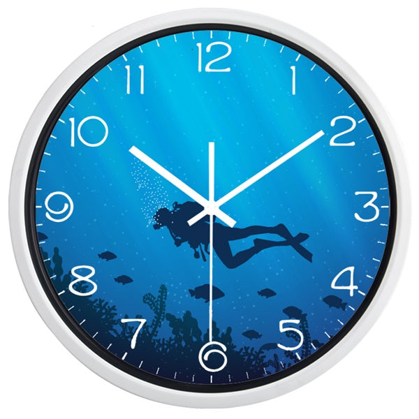 Deed Ocean Diver High Definition Print White Frame Quartz Wall Clock