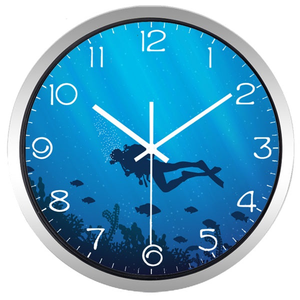 Deed Ocean Diver High Definition Print Silver Frame Quartz Wall Clock