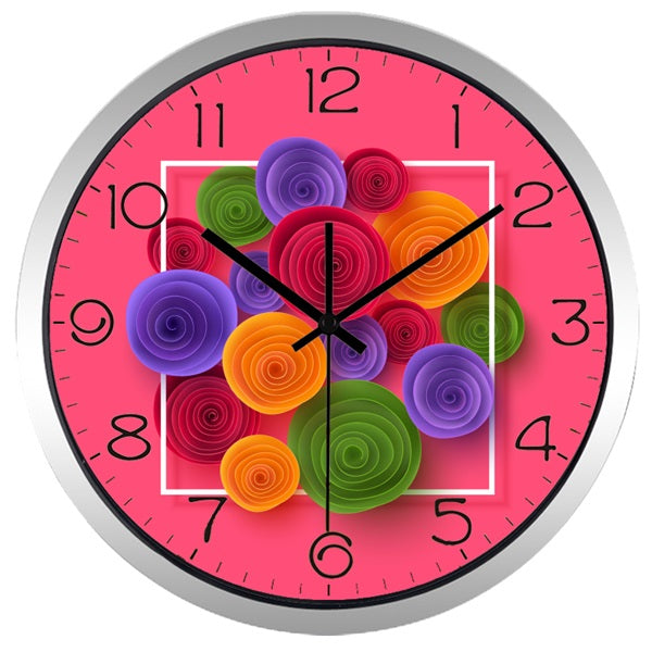 Paper-cut Flower High Definition Print Silver Frame Quartz Wall Clock