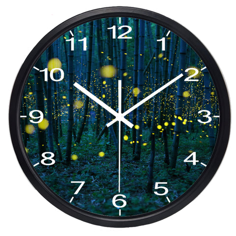 Image of Bamboo Forest High Definition Print Black Frame Quartz Wall Clock