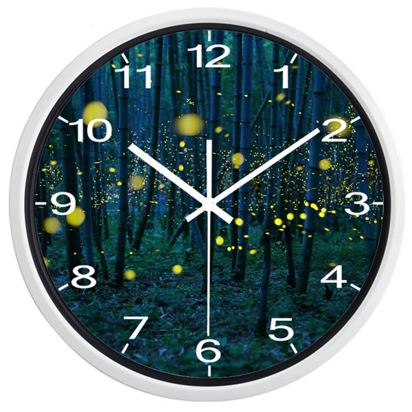 Bamboo Forest High Definition Print White Frame Quartz Wall Clock