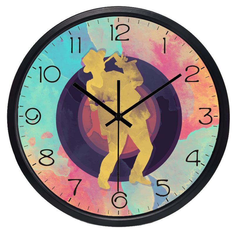 Graffiti Abstract High Definition Print Black Frame Quartz Wall Clock