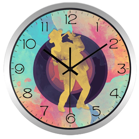 Image of Graffiti Abstract High Definition Print Silver Frame Quartz Wall Clock