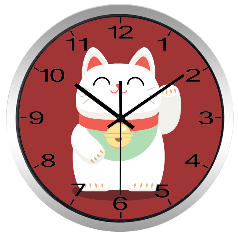 Lucky Cat High Definition Print Silver Frame Quartz Wall Clock
