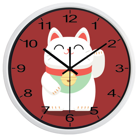 Image of Lucky Cat High Definition Print White Frame Quartz Wall Clock