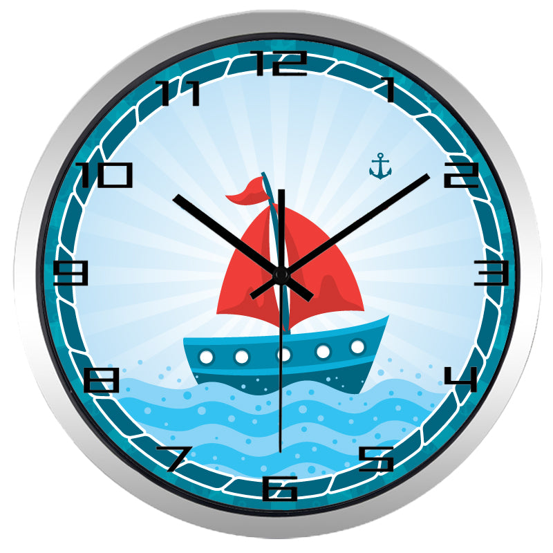 Kids Cartoon Sailboat High Definition Print Silver Frame Quartz Wall Clock
