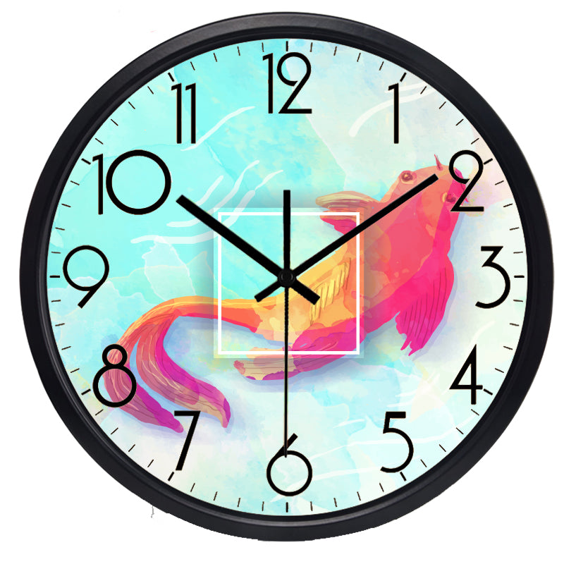 Goldfish High Definition Print Black Frame Quartz Wall Clock