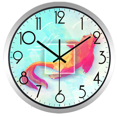 Image of Goldfish High Definition Print Silver Frame Quartz Wall Clock