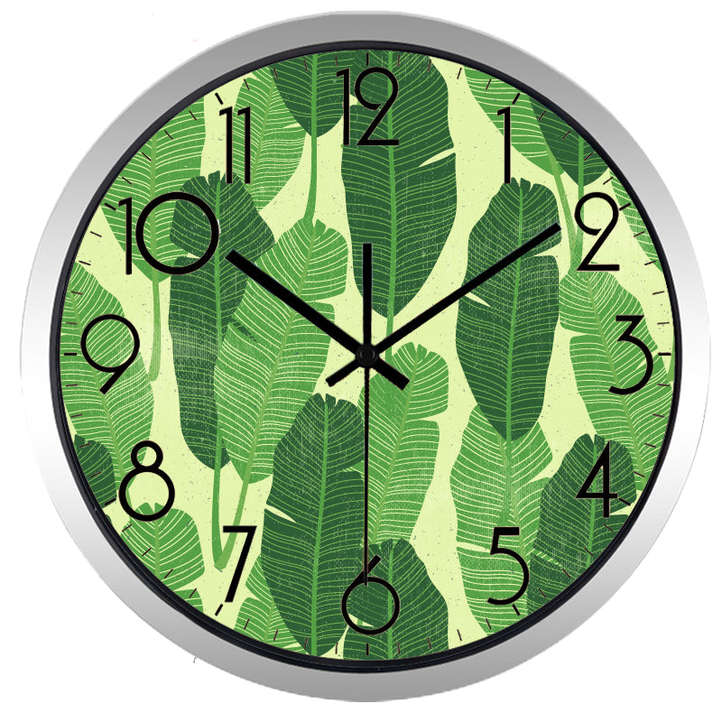 Green Leaf High Definition Print Silver Frame Quartz Wall Clock