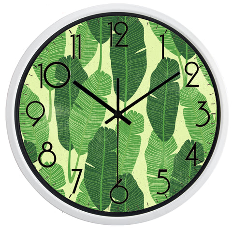 Image of Green Leaf High Definition Print White Frame Quartz Wall Clock