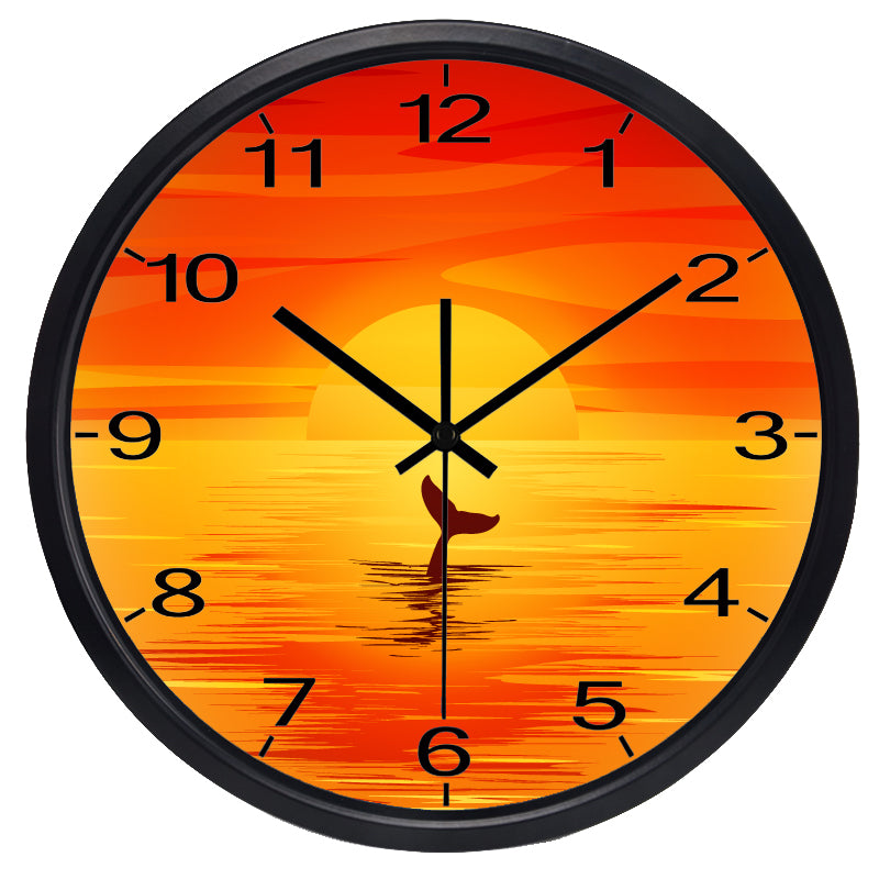 Orange Sunset High Definition Print Black Frame Quartz Wall Clock