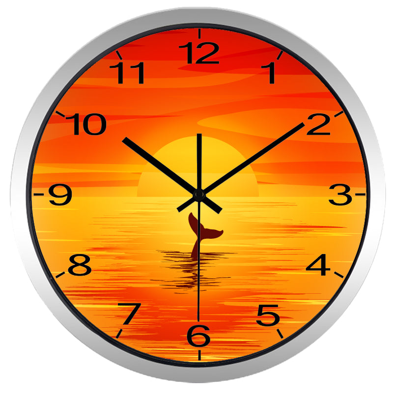 Orange Sunset High Definition Print Silver Frame Quartz Wall Clock