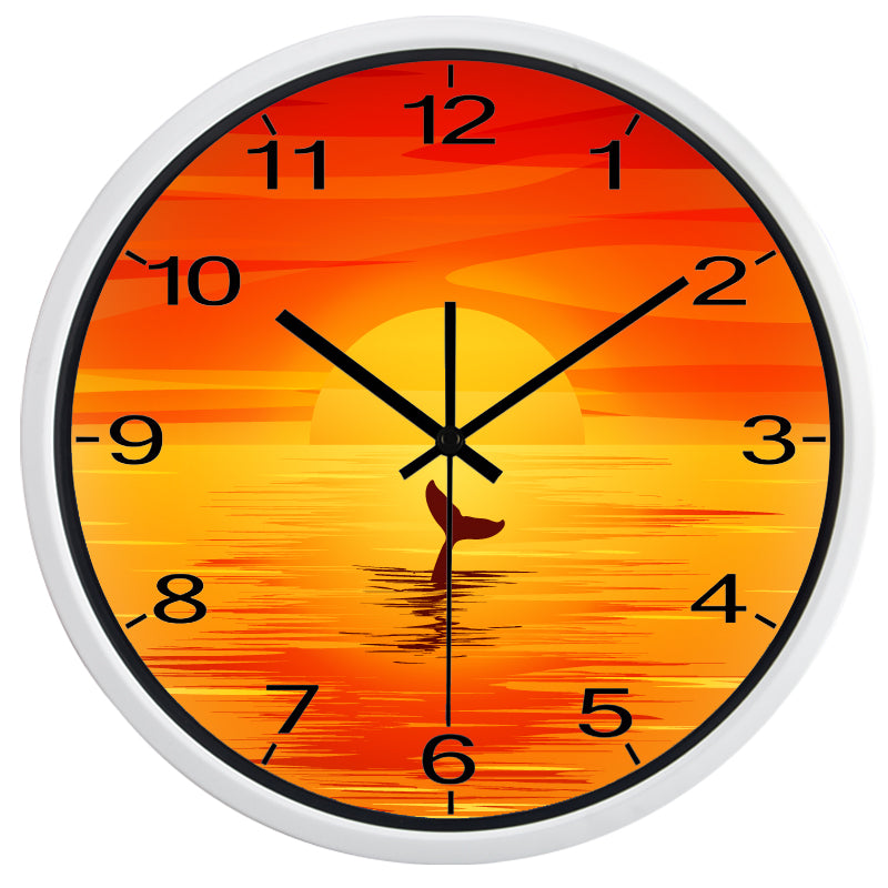 Orange Sunset High Definition Print White Frame Quartz Wall Clock