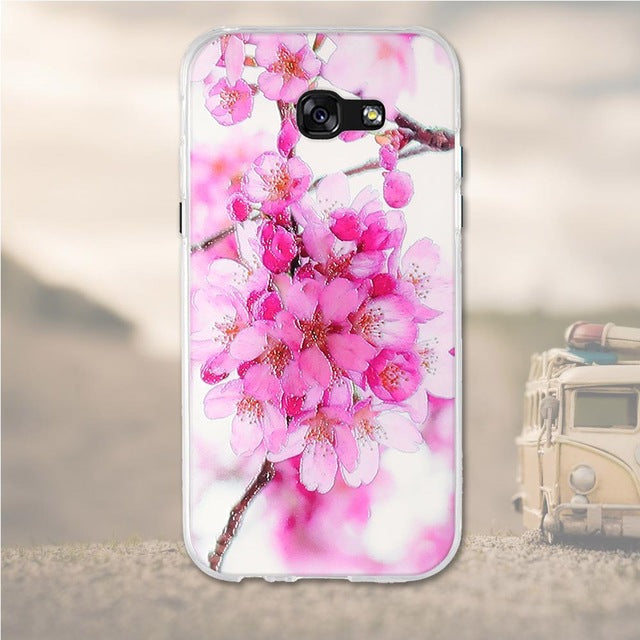 Pink Flowers Samsung Galaxy A7 2017 Cell Phone Protective Case Cover