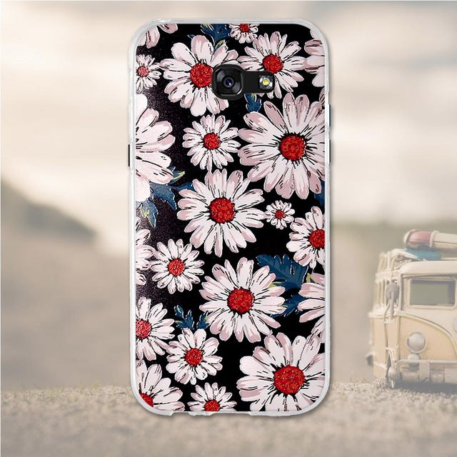 White Flowers Samsung Galaxy A7 2017 Cell Phone Protective Case Cover