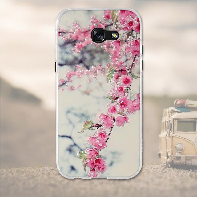 Pink Flowers Samsung Galaxy A5 2017 Cell Phone Protective Case Cover