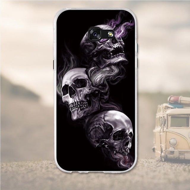 Smokey Skulls Samsung Galaxy A7 2017 Cell Phone Protective Case Cover