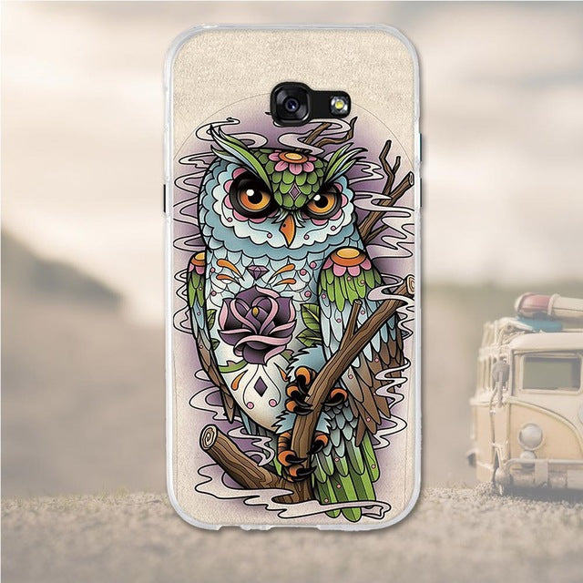 Multicolored Owl Samsung Galaxy A7 2017 Cell Phone Protective Case Cover