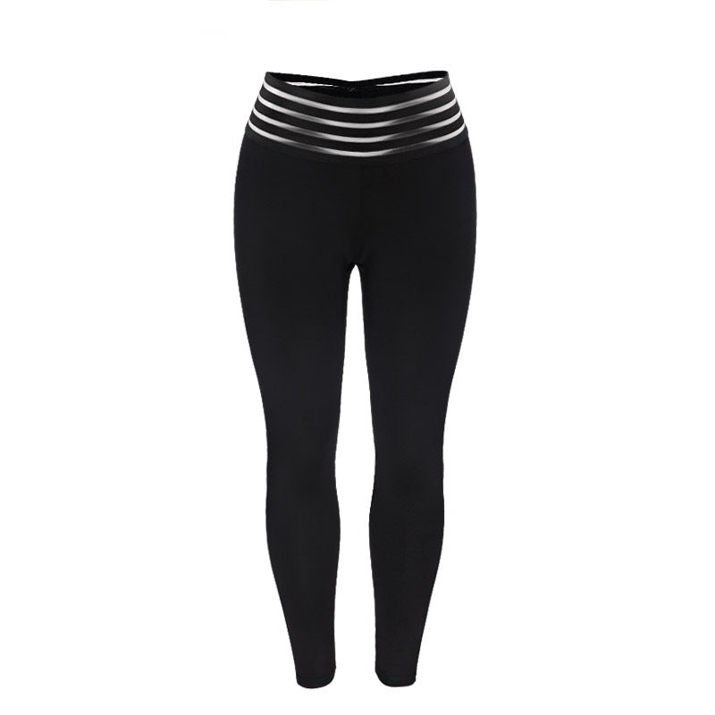 Solid Black Print High Waist Push Up Fitness Leggings