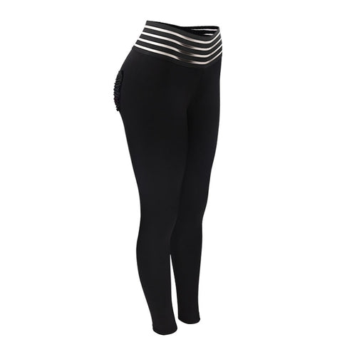 Image of Solid Black Print High Waist Push Up Fitness Leggings