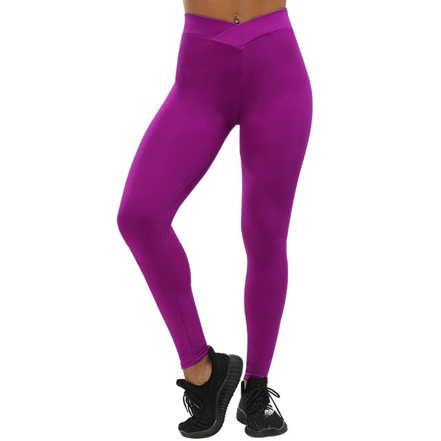 Solid High Waist Push Up Workout Leggings