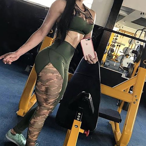 Image of Camouflage Patchwork High Waist Workout Leggings