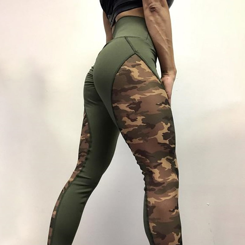 Camouflage Patchwork High Waist Workout Leggings