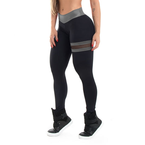 Image of Mesh Patchwork High Waist Push Up Fitness Leggings