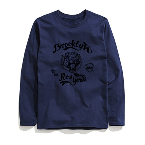 Image of 100% Cotton Brooklyn Printed Men T-Shirt Long Sleeve